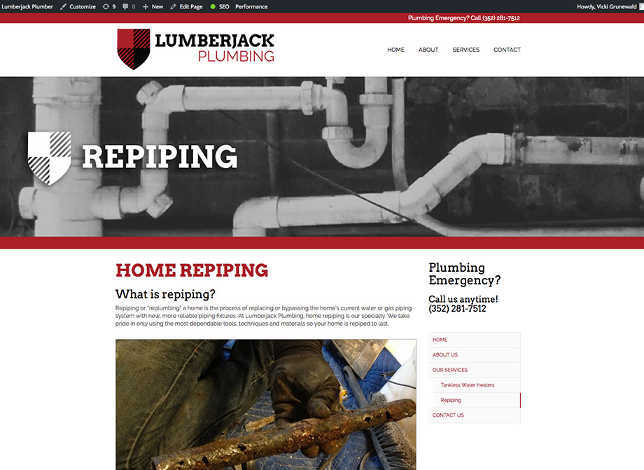 Lumberjack Plumbing: Repiping page highlights company expertise and provides useful information