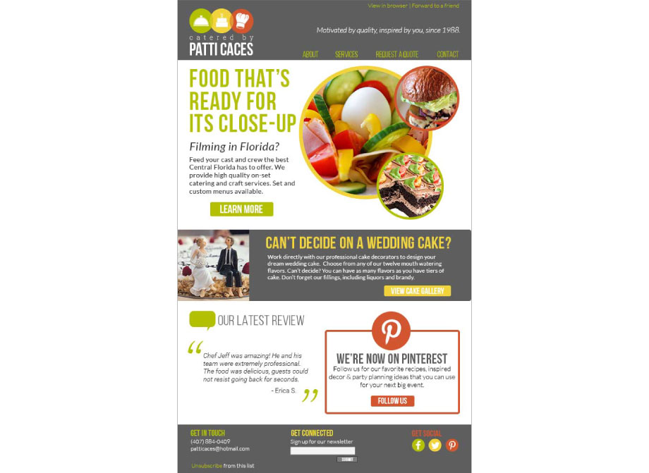 Catered by Patti Caces: Sample email newsletter design