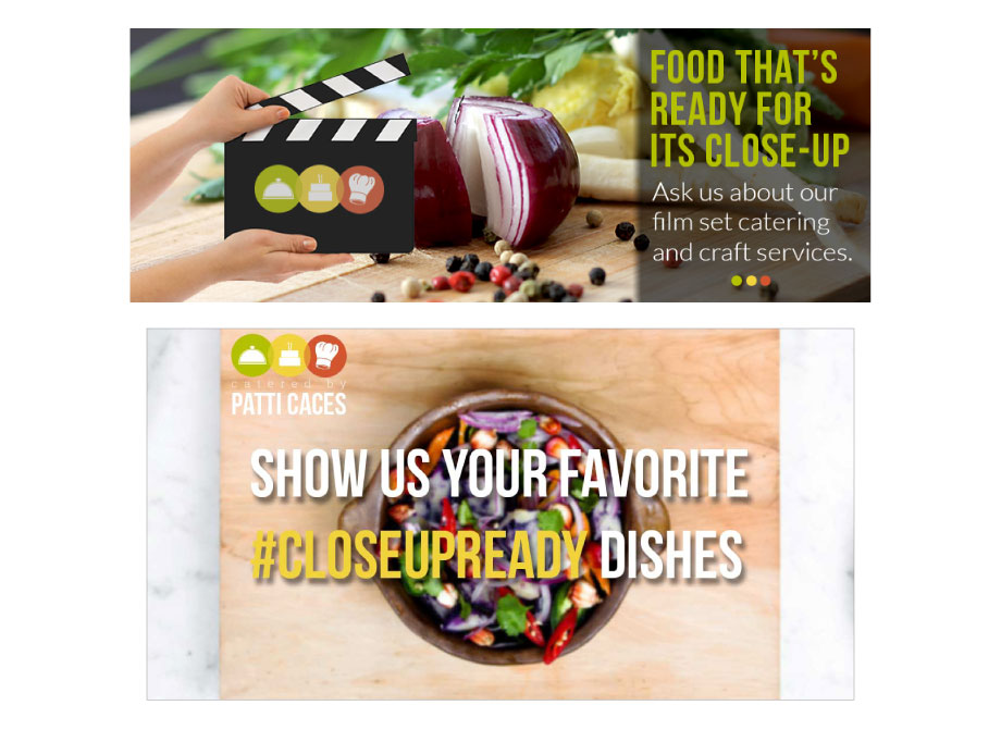 Catered by Patti Caces: Facebook (top) and Twitter (bottom) cover image designs