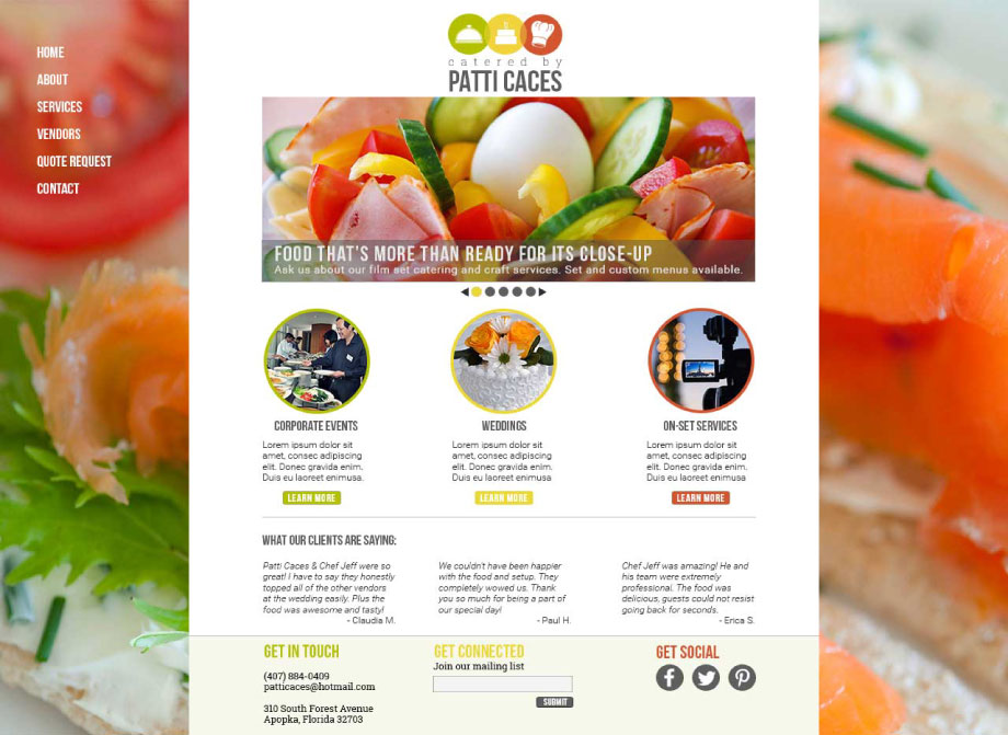 Catered by Patti Caces: Website Homepage Mock