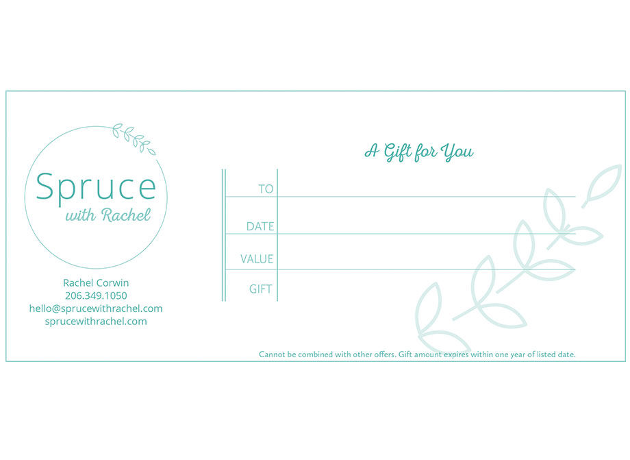 Spruce with Rachel: Gift certificate for print